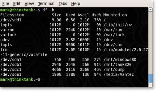 Linux mostra lo spazio sul disco rigido